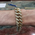 Bracelet Miami cuban Link en or 10k 6.95CT Diamants VS