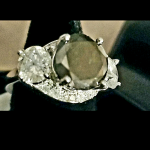 14kt White Gold Natural Black Diamond(2.7ct) Ring