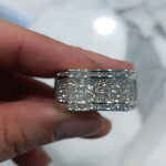 Mens 5.20ct Heavy 14k White Gold Diamond ring.