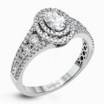 18K White Gold SimonG Engagement Ring with Diamond