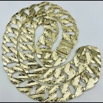 10kt solid gold dbl sided diamond cut monster chain